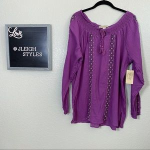 Purple Embroidered Ling Sleeve Top w Tassels
